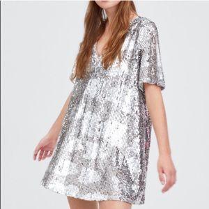 Zara TRF Sequin V-Neck Mini Dress